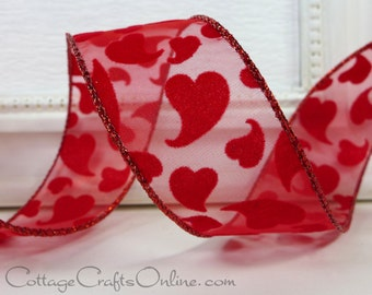 """Valentine Wired Ribbon, 1 1/2"""" wide, Flocked Red Hearts, Sheer, THREE YARDS, Offray """"Love Joy"""" Wire Edged Valentine's Day Ribbon"""