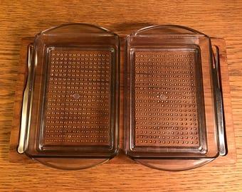 Vintage Luthje teak five piece savory set relish tray mid century modern Denmark