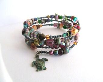 Sea Turtle Wire Wrap Bracelet, Bohemian Cuff, Boho Bracelet, Gypsy Bracelet, Earthy jewelry, Turtle Charm, Rustic Jewelry, Bohemian Gift