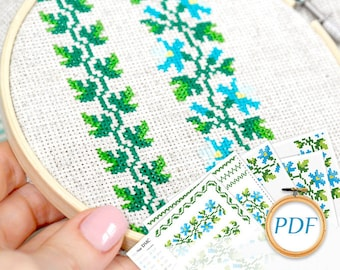 Hand embroidery pattern Blue flower embroidery pdf Flowers cross stitch pattern pdf Gift for grandma cross stitch chart Cross stitch border
