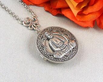 Namaste, Buddha, Buddha Locket,Silver Locket,Locket,Necklace,Antique Locket,Buddha Necklace,Yoga,Mandala,Spiritual