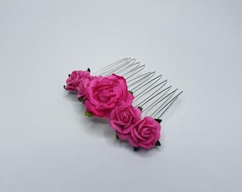 Pink Hair Comb, Bridal Hair Comb, Flower Hair Comb, Pink Hair Accessories, Bright Pink Wedding, Pink Hairpiece, Pink Headpiece.