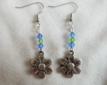 Blue & Green Flower Earrings