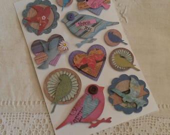 Bird themed stickers / scrapbooking / Board 12 X 18.5 cm