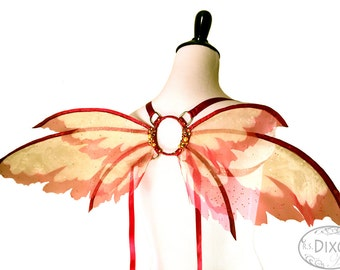 HIlary No. 23 - Small Organza Fairy Wings in Sparkle Yellow and Burgandy