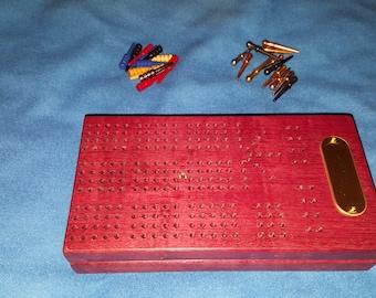 Purple Heart Wooden Travel Cribbage Board