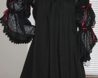 DDNJ Renaissance Victorian Vampire Goth Black 2Tier Chiffon Slv Chemise Plus Custom Made Your Measurements Anime Costume Steampunk  Medieval