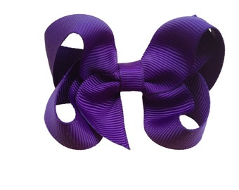 Dark purple hair bow - purple bow, hair bows, girls bows, girls hair bows, baby bows, 3 inch hair bows, boutique bows, toddler hair bows