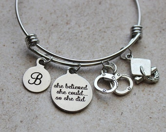 She Believed She Could So She Did Police Bracelet, Law Enforcement Jewelry, Police Graduation, Graduation Gifts, Graduating Police, Police