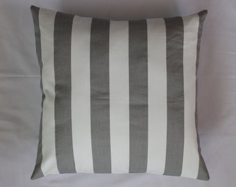 16 x 16 Grey and White Striped Pillow Cover