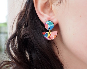 Statement earrings, art deco jewelry, unusual earrings, unique gifts, drop earrings, flowers gifts, fashion earrings, gifts for women
