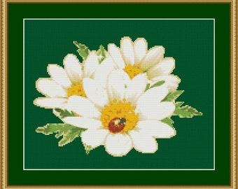Ladybug On Daisy Flowers Counted Cross Stitch Pattern in PDF for Instant Download