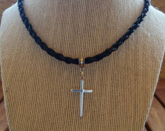 Custom Horsehair Necklace with Sterling Silver Cross Charm