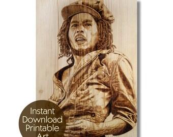 Bob Marley, pyrography, wood burning, printable art instant download, portrait, reggae star, legend