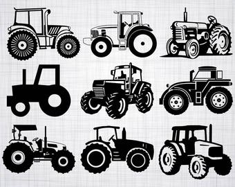 Tractor SVG Bundle, Tractor SVG, Clipart, Tractor Cut Files For Silhouette, Files for Cricut, Farm Tractor Vector, Svg, Dxf, Png, Eps, Decal