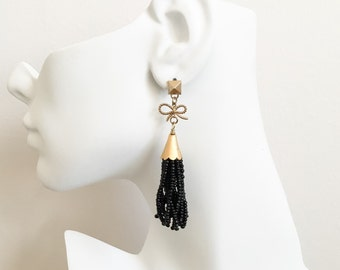 Black Beaded Tassel Earrings - Black Tassel Bow Earrings - Gold Bow Tassel Earring - Spike Earrings - Edgy Black Tassel Earrings - Fringe