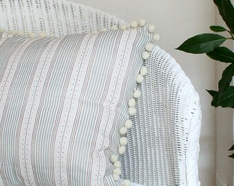 Sage Green Striped Linen Union Cushion Cover with Pom Pom Trim