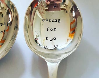 "Hand stamped vintage cutlery ""eating for two"" dessert spoon birthdays/birthdates baby shower"