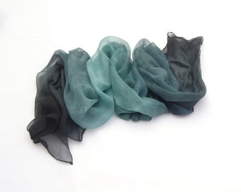 Teal ombre long silk scarf mousseline scarf feminine hand painted gift for women