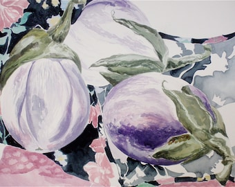 Handmade, Fine Art , Original Painting, Watercolor Painting, Food Art :  White Eggplants From the Farmer's Market