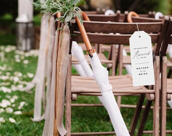 Reserved Wedding Ceremony Seating Tag, Reserved Chair Tags, Wedding Ceremony Reserved Seat Sign, Wedding Chair Tag Template - KPC10_406