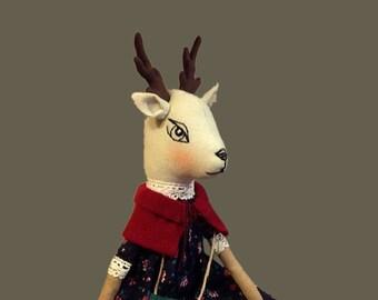 woodland animal deer doll stuff deer cloth heirloom doll plush fabric doll fawn forest textile doll soft rag doll muñecas poupée reindeer