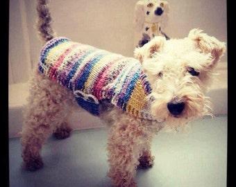 Hand knitted fairisle-look dog coat (size L)