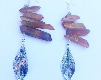 Healing Crystal Aura Quartz Earrings with Leaf