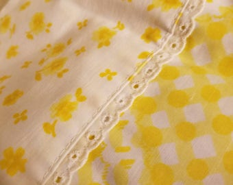 Bright Yellow and White Vintage Gingham Standard Pillowcase Set with Pretty Eyelet Finishings.