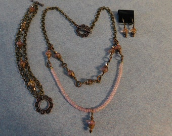 Pink Brass Necklace, Bracelet, and Earring Set