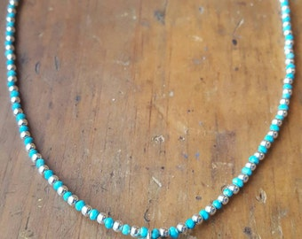 Sterling and Kingman Turquoise Necklace, Turquoise Nugget Pendant, Natural Turquoise, Sterling Silver Necklace, Arizona Turquoise, Southwest