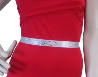 Silver Bridal sash belt, wedding Belt, bridal rhinestone sash belt, bridesmaid sash belt