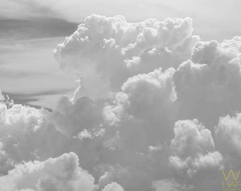 Cloud Wall Hanging, Sky Fine Art Photography, Clear Skies Photograph, Cloud Photo for a Bedroom, Nursery or Guest Room, Matted Print