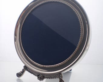 NEW Sterling Silver round picture frame, Vintage style, handcrafted, wooden backing & stand