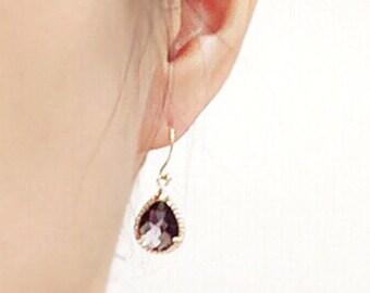 Amethyst purple drop earring, Gorgeous Drop, stone in twisted bezel, wedding earring, bridesmaid gift