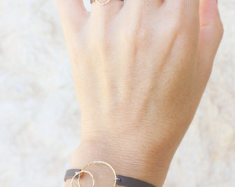 Handmade Leather Ring / Gold Circle ring / Dainty leather and gold ring / Leather Rings /  Womens ring / brown Neutral leather ring