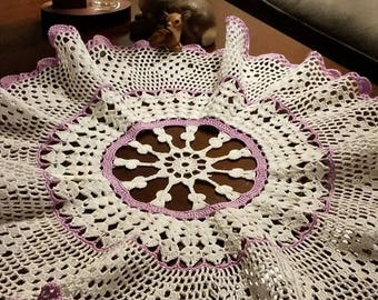 White and purple crocheted doily, crocheted doily, housewarming gift, purple doily