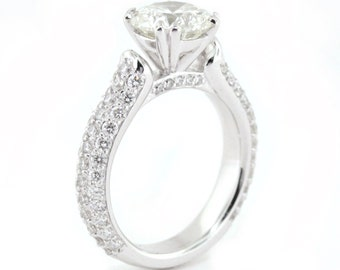 8mm Round Moissanite Engagement Ring Diamond Pave Ring