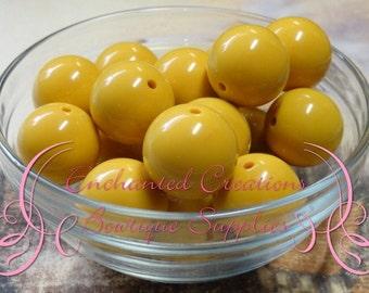 20mm Mustard Yellow Solid Acylic Beads Qty 10