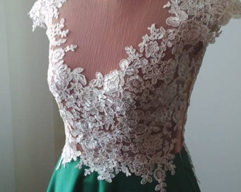 Full skirt taffeta and embroidered lace bodice wedding dress