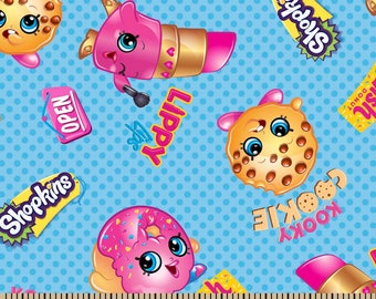 """Shopkins Friends fabric for Springs Creative, 43"""" wide, 100% cotton, by the half yard"""