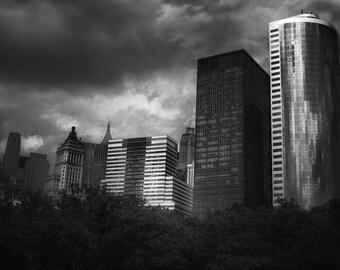 NYC Skyline Photograph, New York Skyline Photography B&W Moody Manhattan Battery Park Buildings Financial District