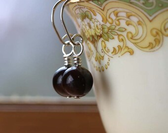 Garnet Drop Earrings, January Birthstone, Garnet Gemstone Earrings, Small Dangle Earrings, Root Chakra, Gift for Her, Small Earrings
