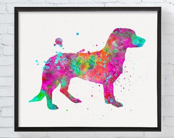 Drever Dog Print, Westphalian Dachsbracke, Watercolor Dog Painting, Dog Wall Art, Dog Breed, Scenthound, Dog Lover Gift,  Painting, Framed