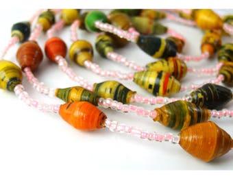 Bright Pink Necklace   Summer Jewelry   Handmade Necklace   Jewelry Necklace   Gift for Her   Simple Necklace   Eco Jewelry