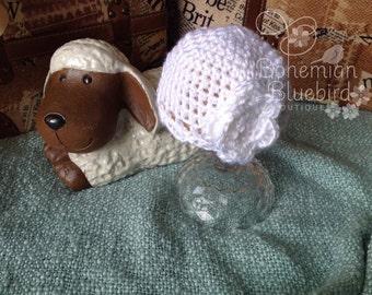 Newborn Hat, Cute Newborn Cloche, White Newborn Hat, Baby Girl, Baptism Hat,Photo Prop
