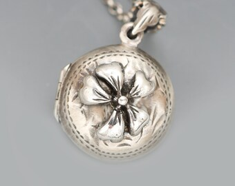 Forget Me Not Necklace, Sterling Silver Compass, Sterling Silver Compass Locket, Flower Locket Necklace,