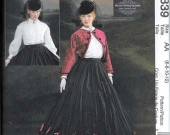 McCall's 4339 Civil War Era Skirt Jacket & Blouse Historic Costume Pattern Size 6, 8, 10 and 12 UNCUT