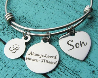 son memorial bracelet gift, loss of son, sympathy gift son, Always loved forever missed, in loving memory son, remembrance jewelry, grief