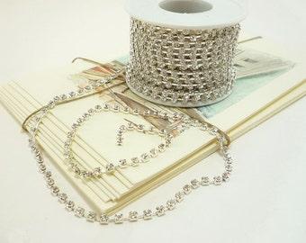Silver Rhinestone Chain, Clear Crystal, rhinestone trim, Silver rhinestone crystal trim, Bridal trim, Fashion trim (3mm / 1 Foot Qty)